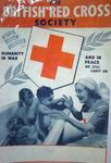 Laminated photocopy of poster produced by the British Red Cross Society. Featuring a female VAD in uniform bathing four small children. 'Humanity in war and in peace we still carry on.'