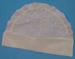 white starched cotton cap with fringes.