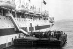 Hospital ship bearing Red Cross emblem