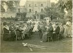Mayor, Sir A D Dawnay, and Mayoress of Wandsworth and Lady [Heusley] at tea party in garden with VADs and patients