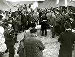 Black and white photograph. Cheskin opening ceremony 1962
