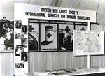 Black and white photograph of the British Red Cross at the International Services for Invalid Travellers exhibition at Biggin Hill