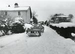 Black and white photograph of meals on wheels arriving at Elmstead Market in Essex