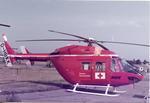Colour photograph of an American Red Cross air ambulance at Farnborough Air Show