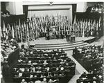 Black and white photograph of the National Conference for World Red Cross Day in New Delhi
