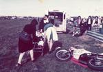 Colour photograph of First Aid at a motorbike racing show