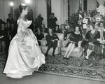 Black and white photograph of the Christian Dior Show at Blenheim Palace 1954
