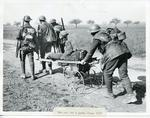 Photograph of a pram being used as a stretcher at the Somme during the First World War