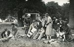 Black and white photograph of British Red Cross training