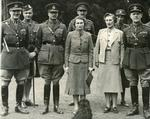Black and white photograph of John Gort the Commander in Chief of the British Expeditionary Force with Their Royal Highnesses the Duke and Duchess of Gloucester