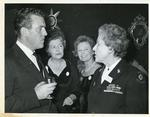 Black and white photograph of Lady Angela Limerick with Anna Neagle and Eamonn Andrews