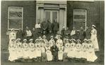 Black and white photograph of Heyesleigh hospital in Timperley during the First World War