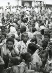 Black and white photograph of Red Cross relief work in Ethiopia 1981