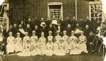 Photograph of Wounded Soldiers with Nurses at 'St Chad's' 1st Cambridge Borough Red Cross Hospital